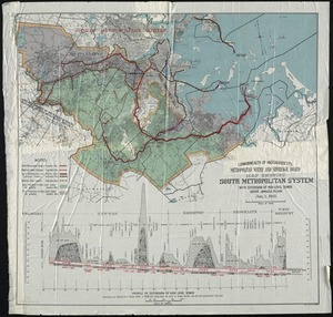 Metropolitan Water and Sewerage Board map showing South Metropolitan System with extension of high level sewer above Jamaica Plain.