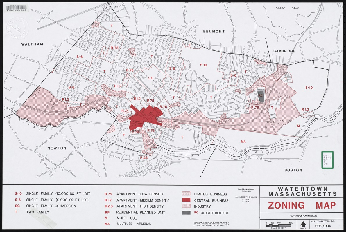 Watertown Massachusetts zoning map Digital Commonwealth
