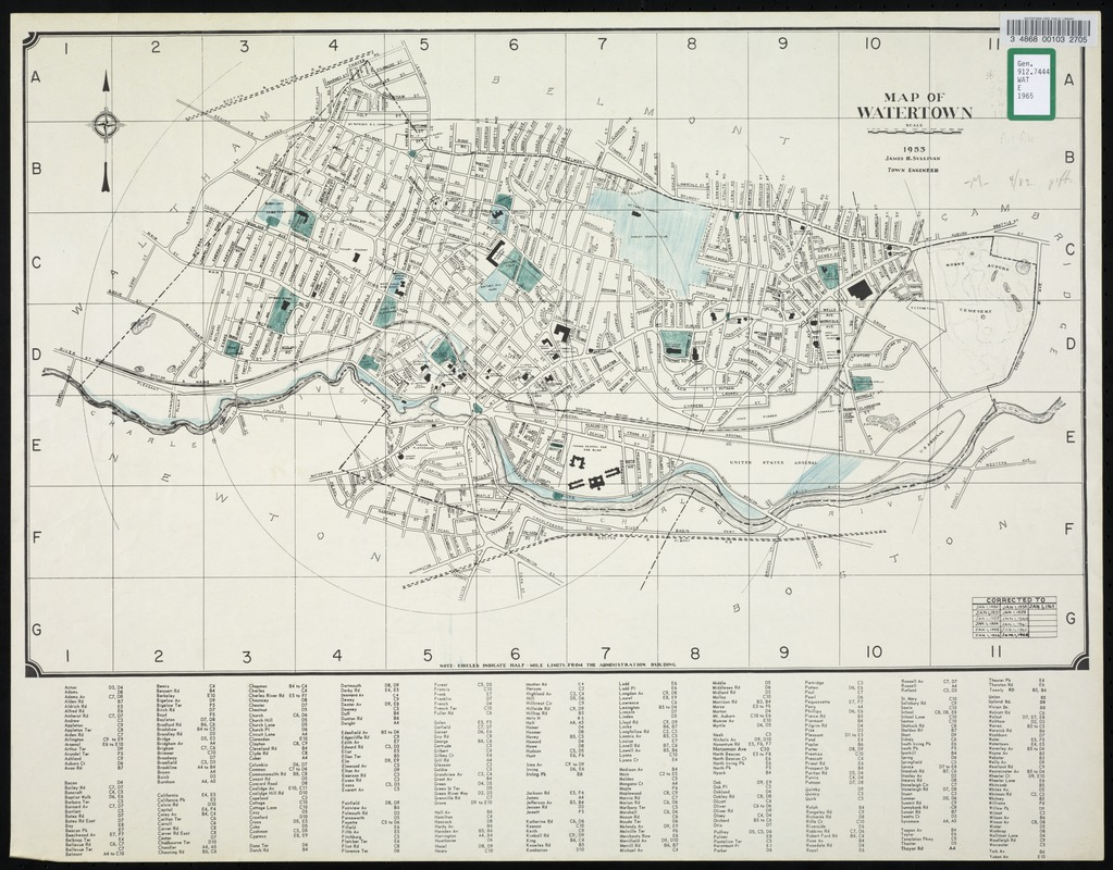 Map of Watertown, 1953 corrected to 1965