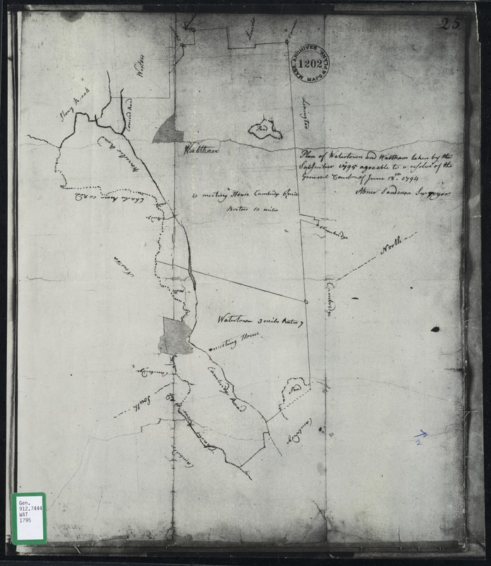 Plan of Watertown and Waltham taken by the subscriber, 1795 agreable to a resolve of the General Court of June 18, 1794