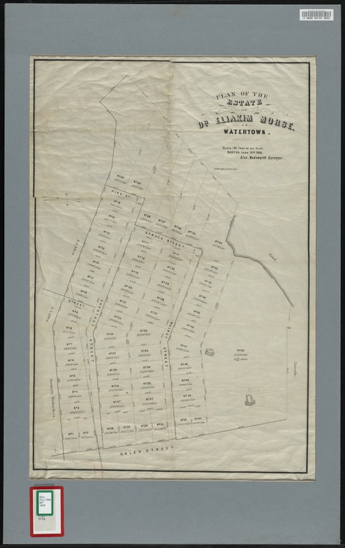Plan of the estate of Dr. Eliakim Morse in Watertown