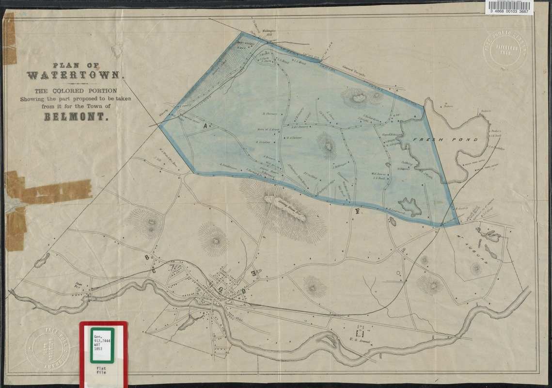 Plan of Watertown. the colored portion showing the part proposed to be taken from it for the town of Belmont.
