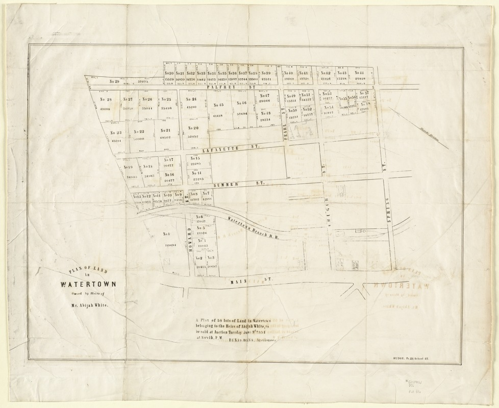 Plan of land in Watertown owned by heirs of Mr. Abijah White. a plan of 58 lots of land in Watertown belonging to the heirs of Abijah White, to be sold at auction tuesday June 3d 1851 at 3 o'clk. P.M.