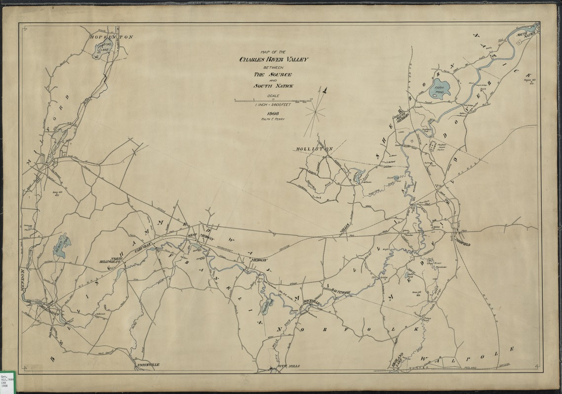 Map of the Charles River Valley between the source and South Natick