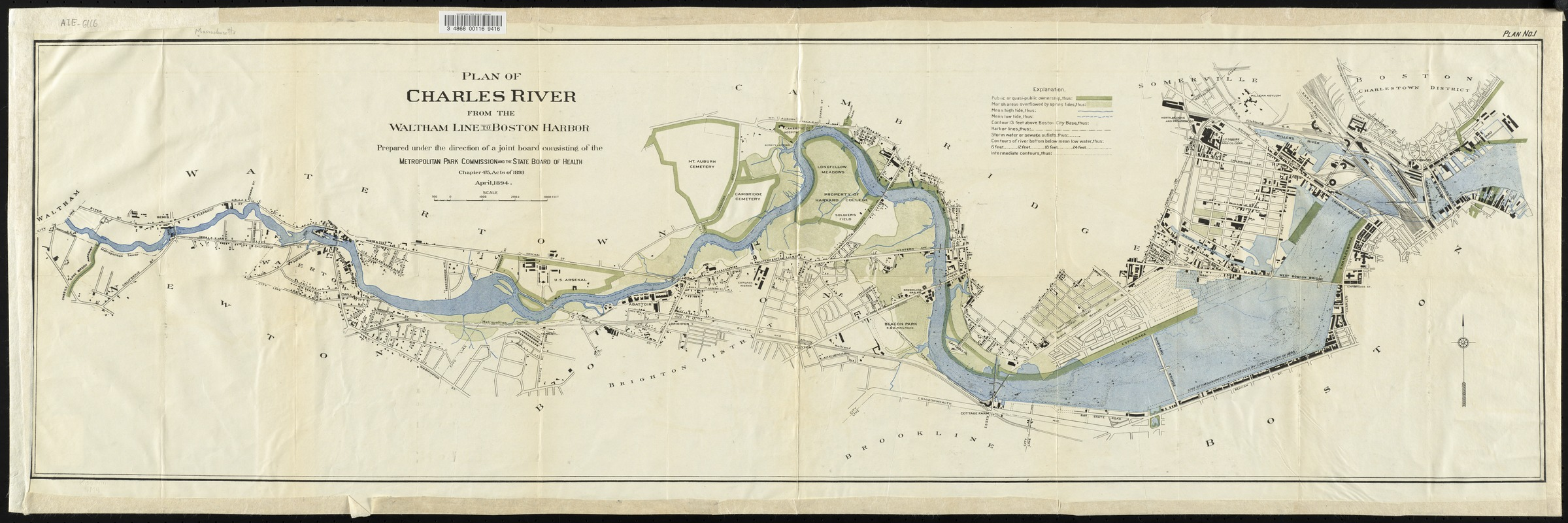 Plan of Charles River from the Waltham line to Boston Harbor