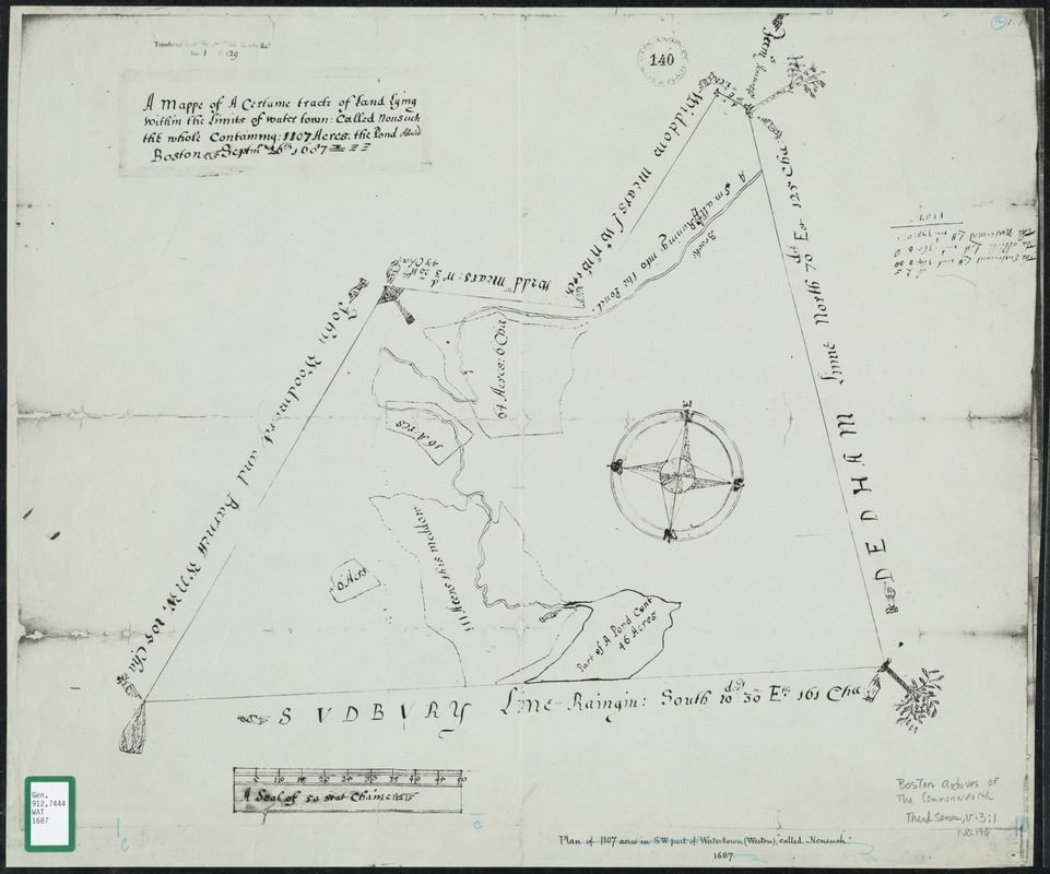 A mappe of a certaine tract of land lying within the limits of Watertown, called Nonsuch, the whole containing 1107 acres; the pond abated