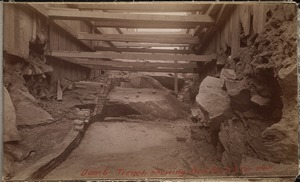 Sudbury Department, Hopkinton Dam, trench showing bed rock and toe wall, Ashland, Mass., 1890