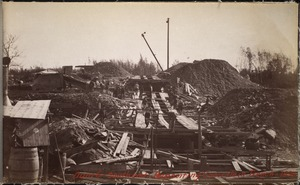 Sudbury Department, Hopkinton Dam, depositing concrete in trench, southerly end, Ashland, Mass., 1890