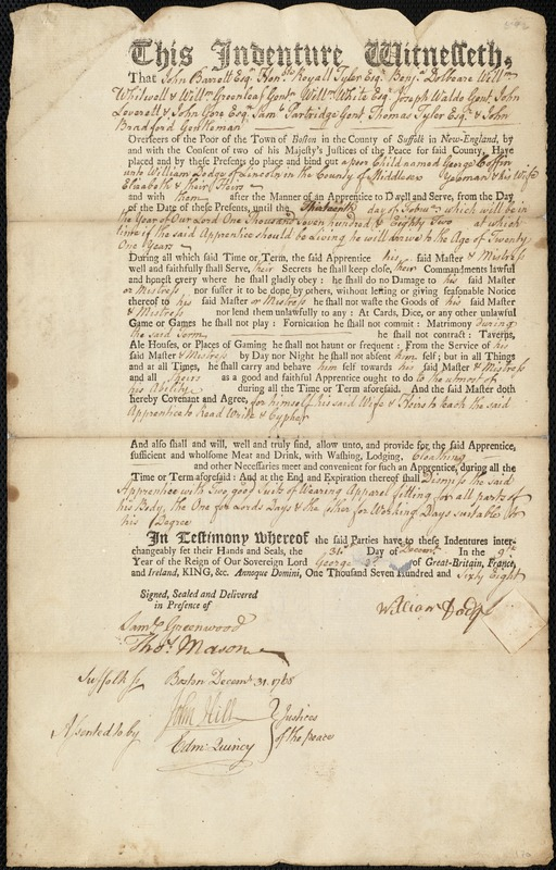 Document of indenture: Servant: Coffin, George. Master: Dodge, William. Town of Master: Lincoln