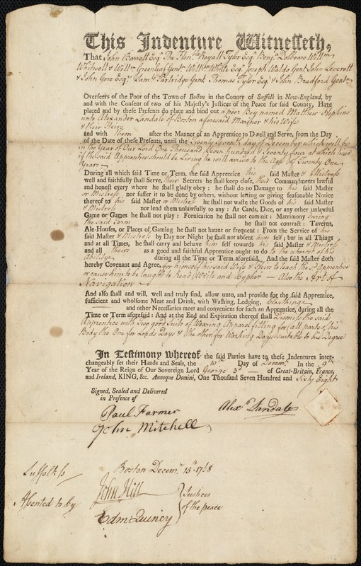 Document of indenture: Servant: Hopkins, Matthew. Master: Landale, Alexander. Town of Master: Boston