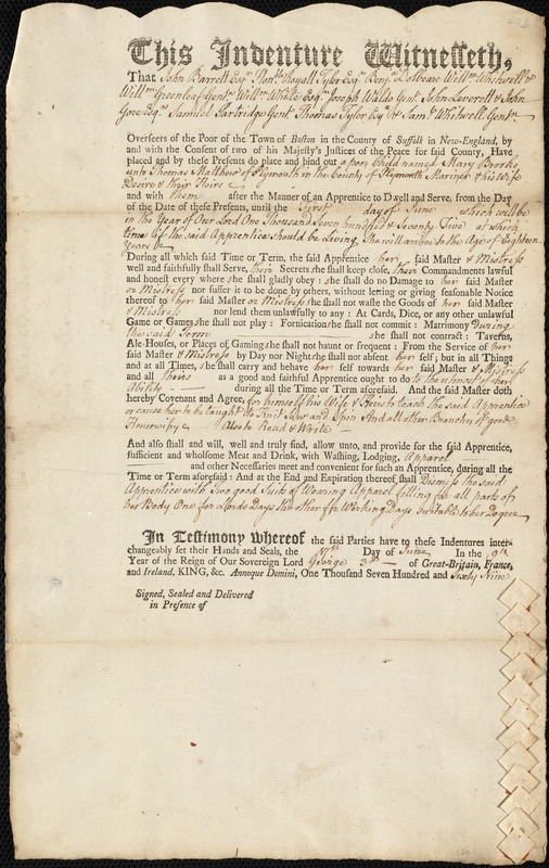 Document of indenture: Servant: Brooks, Mary. Master: Matthew, Thomas. Town of Master: Plymouth
