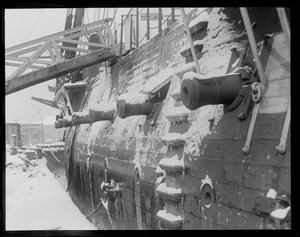 Snow covered guns of USS Constitution, Navy Yard