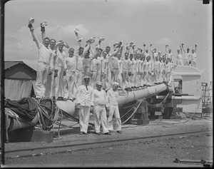 Sailors standing on mast of USS Constitution - South Boston