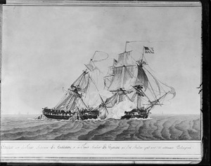 Painting of battle between USS Constitution and La Guerriere