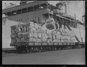 Bales of hemp being unloaded onto Navy Yard railroad for