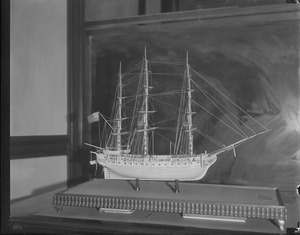 Ivory inlaid model of USS Constitution, Boston