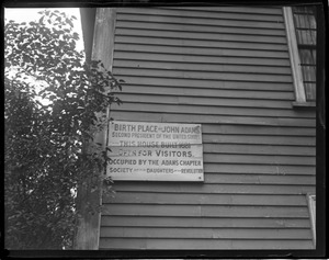 Sign on the John Quincy Adams birthplace