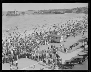 Crescent Beach in Revere, showing pier