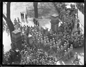 Parade, West Point cadets entering Boston Common from Charles St. - Beacon St. corner