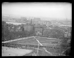 Aerial view, soldiers on Common, parade?