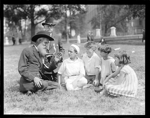 G.A.R. vets P.R. Barker and John Houder from Fitzgerald, Georgia, tell war stories to kids on historic Boston Common