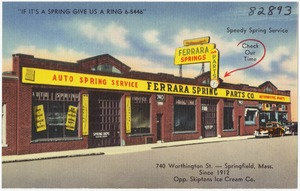 """""""If It's a spring give us a ring 6-5446,"""" Ferrara Spring & Parts Co. 740 Washington St., Springfield, Mass."""