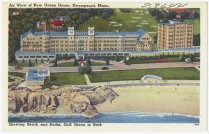 Air view of new Ocean House, Swampscott, Mass., showing beach and rocks, golf green in back