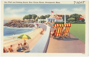Sea wall and bathing beach, new Ocean House, Swampscott, Mass.