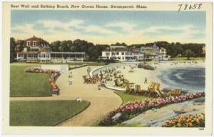 Rest wall and bathing beach, New Ocean House, Swampscott, Mass.