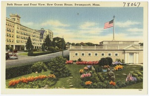 Bath house and front view, New Ocean House, Swampscott, Mass.