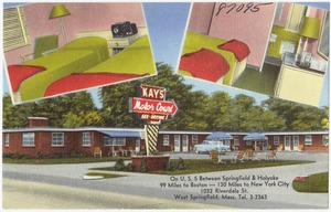 Kay's Motor Court. On U.S. 5 between Springfield & Holyoke, 99 miles to Boston -- 130 miles to New York City, 1032 Riverdale St., West Springfield, Mass., Tel 3-2363