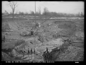 Wachusett Reservoir, South Dike, excavating at southerly end, Boylston; Clinton, Mass., Mar. 9, 1904