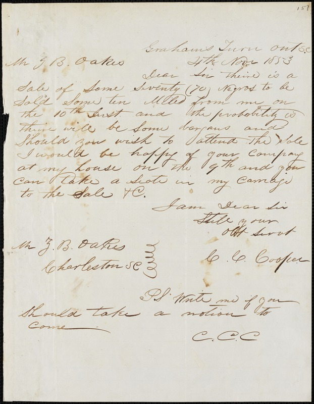 C.C. Cooper, Graham Turnout, S.C.[?], autograph letter signed to Ziba B. Oakes, 4 November 1853