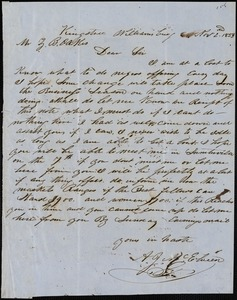 A. J. McElveen, Kingstree, S.C., autograph letter signed to Ziba B. Oakes, 2 November 1853