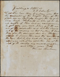Thomas Limehouse, Goulding, S.C.[?], autograph letter signed to Ziba B. Oakes, 30 October 1853