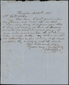 J.G. Staggers, Kingstree, S.C., autograph letter signed to Ziba B. Oakes, 26 October 1853