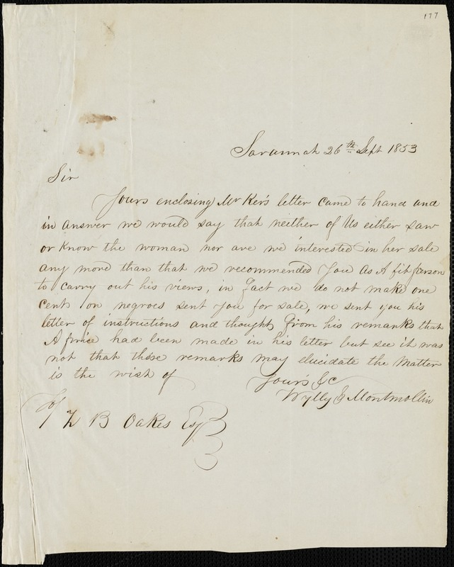 Wylly & Montmollin, Savannah, Ga., manuscript letter signed to Ziba B. Oakes, 26 September 1853