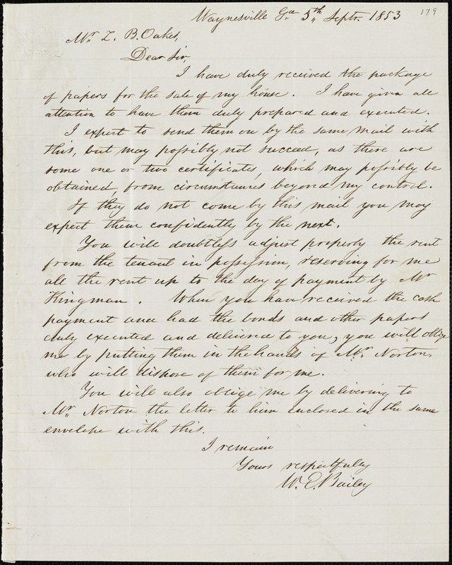 W. E. Bailey, Waynesville, Ga., autograph letter signed to Ziba B. Oakes, 5 September 1853