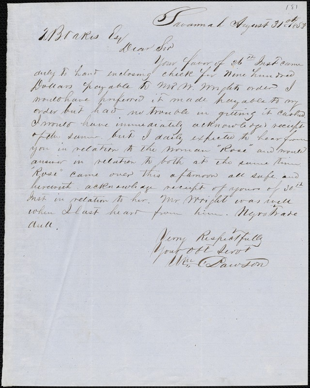 William C. Dawson, Savannah, Ga., autograph letter signed to Ziba B. Oakes, 31 August 1853