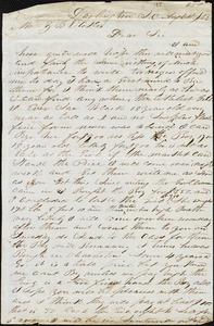 A. J. McElveen, Darlington, S.C., autograph letter signed to Ziba B. Oakes, 25 August 1853