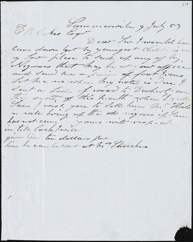 [Thomas Limehouse], Sumterville, S.C., autograph letter signed to Ziba B. Oakes., 9 July 1853