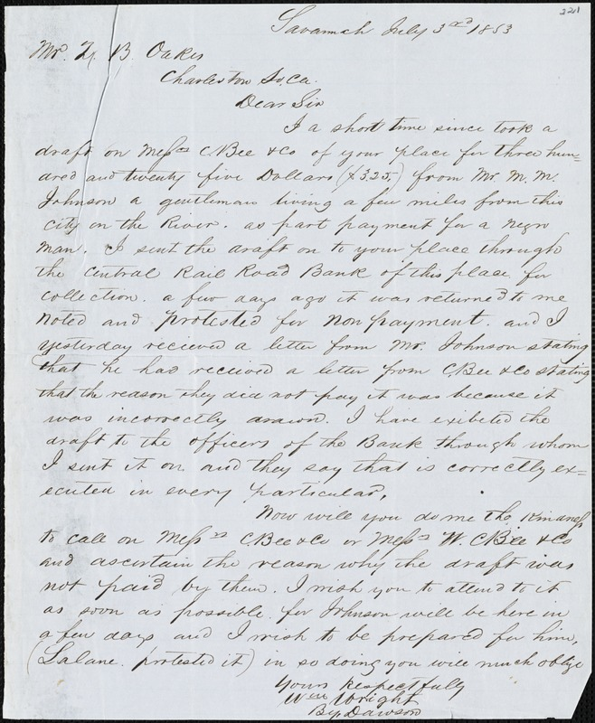 William Wright, Savannah, Ga., manuscript letter signed to Ziba B. Oakes, 3 July 1853