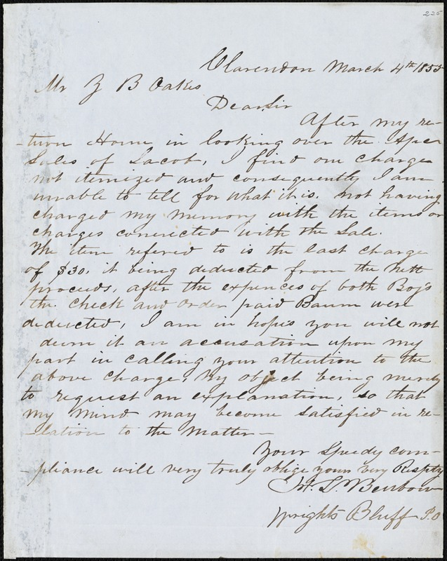 H.L Benbow, Clarendon, Wright's Bluff P.O., S.C., autograph letter signed to Ziba B. Oakes, 4 March 1855