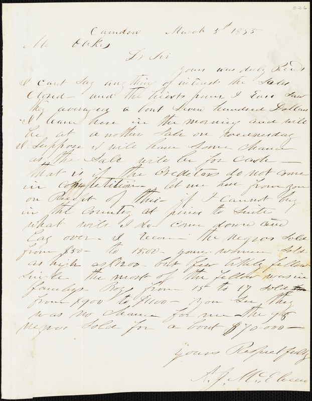 A. J. McElveen, Camden, S.C., autograph letter signed to Ziba B. Oakes, 5 March 1855