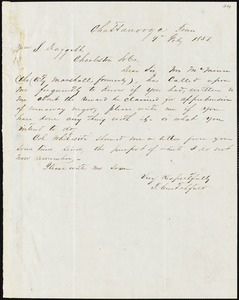 T. Crutchfield, Chattanooga, Tenn., autograph letter signed to Ziba B. Oakes, 9 February 1853