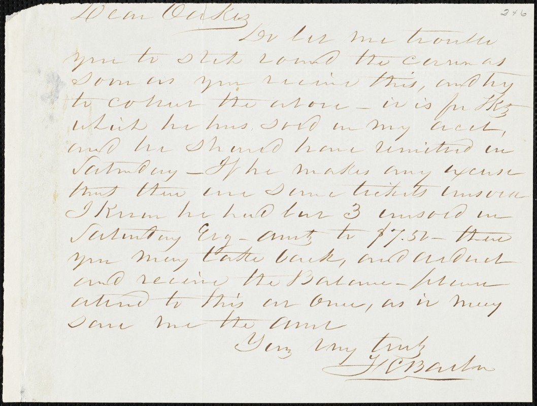 F. C. Barber, [Augusta, Ga.?] autograph letter signed to Ziba B. Oakes, [February 1855?]