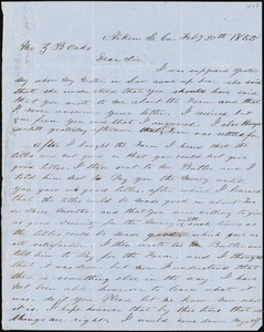 A. Stinebeck, Aiken, S.C., autograph letter signed to Ziba B. Oakes, 20 February 1855