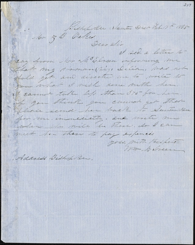 William M. Green, Bishopville, Sumpter District, S.C., autograph letter signed to Ziba B. Oakes, 19 February 1855
