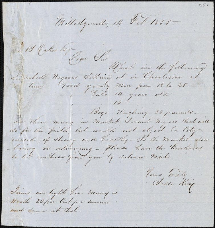 Jesse King, Milledgeville, Ga., autograph letter signed to Ziba B. Oakes, 11 February 1855