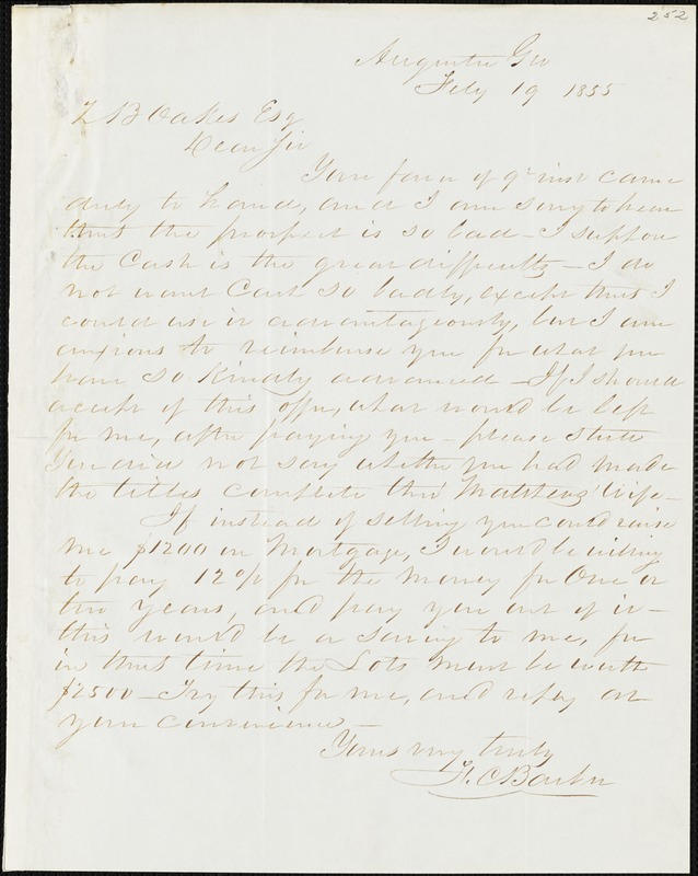 F. C. Barber, Augusta, Ga., autograph letter signed to Ziba B. Oakes, 19 February 1855